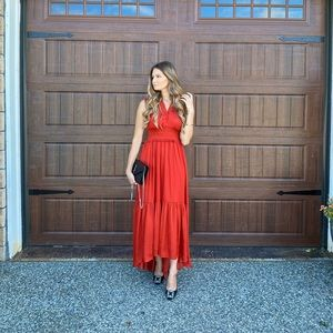 Banana Republic red high low maxi dress
